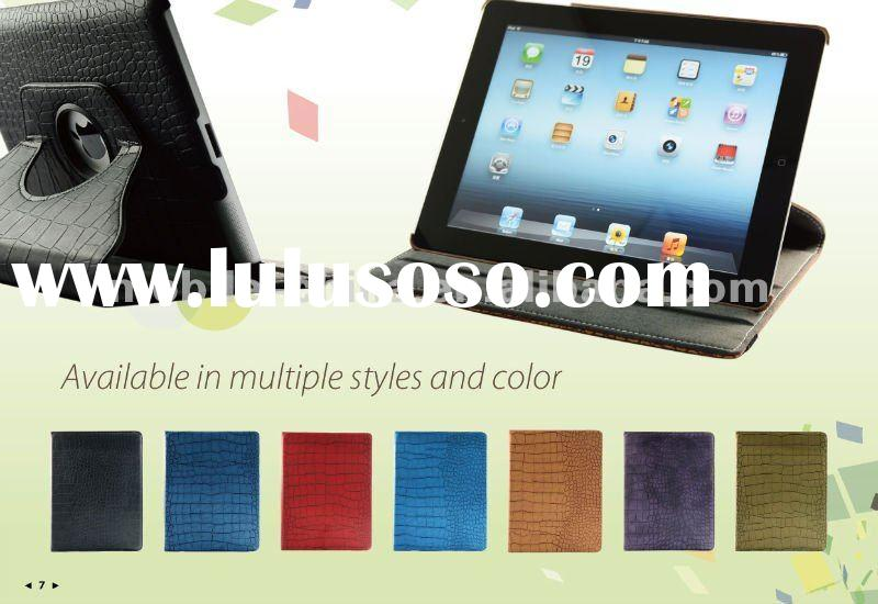 Leather case for the new ipad and rotating case with car holder