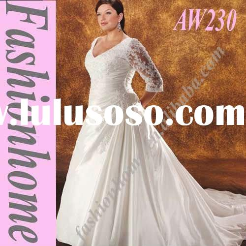 Long Sleeve Taffeta Lace wedding Gown By designer AW230