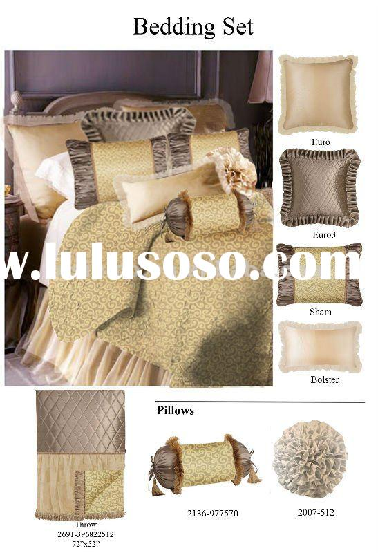 Luxury satin silk bedding set,home and hotel bedding set,satin silk bedding 7pcs set(B190030)
