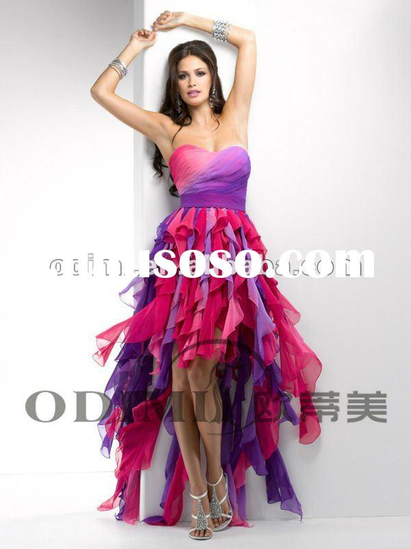 Multicolor Front Short and Long Back Prom Dress 2012