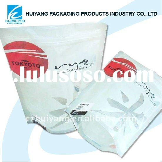 Multicolor-printed food plastic stand up rice bag zip lock packaging