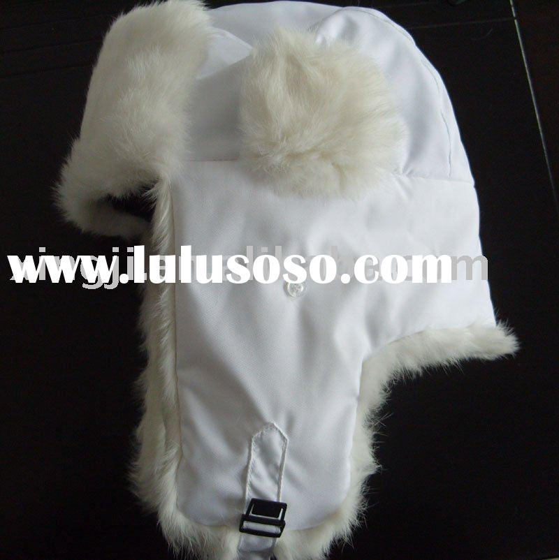 Natural white rabbit fur hat