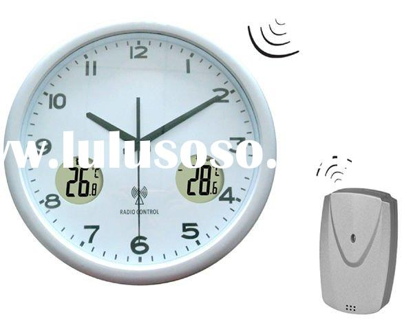 New design round radio control indoor outdoor temperature wall clock for decoration