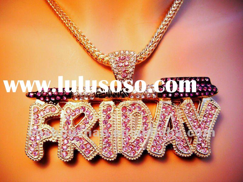 Original Pink Friday Rhinestone Necklace Goldtone Nicki Minaj Inspired