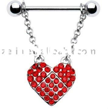 Ruby Red Jeweled Heart Dangle nipple ring body piercing jewelry