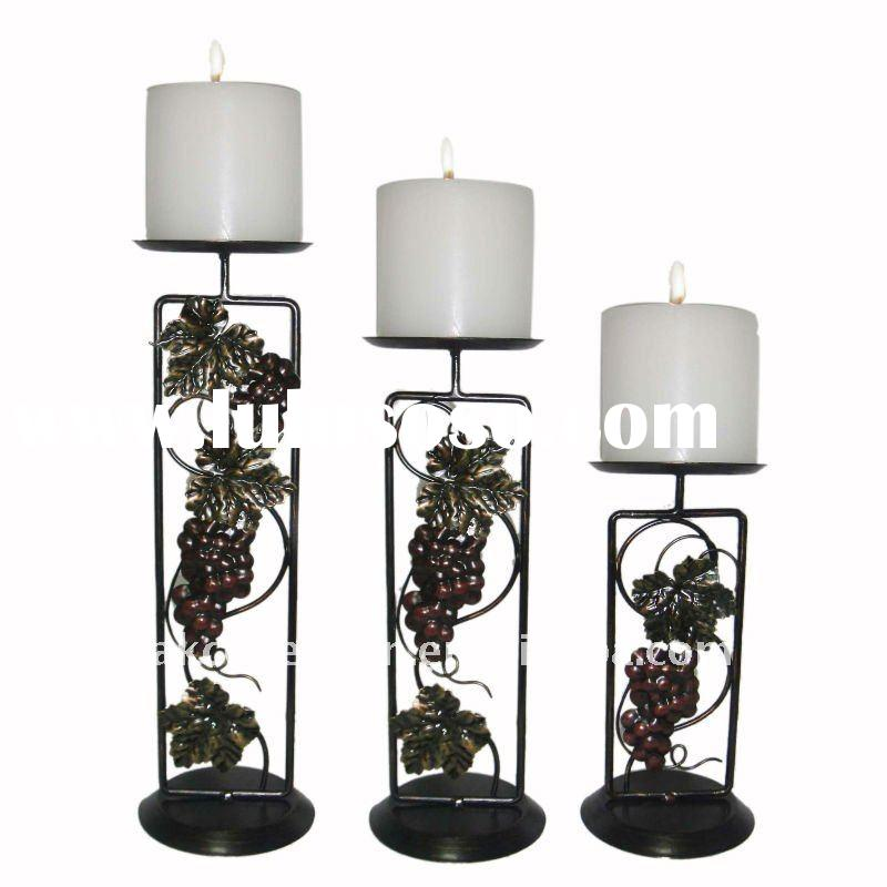 S/3 metal candle holder for home decor.