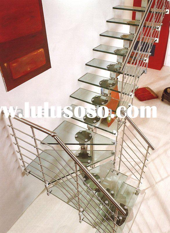 Stainless Steel Staircase (tempered glass treads)