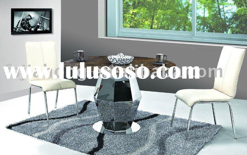 Stylish Round Dining Table/Stainless steel Table Base