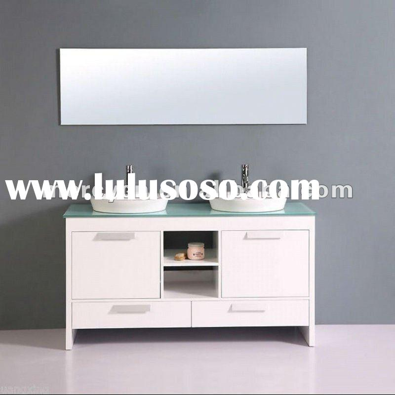 White High Gloss Double Sinks MDF Bathroom Vanity With Glass Top