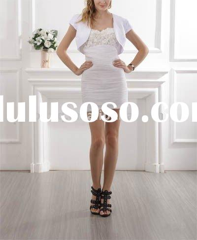 White Short Tight Gown Flower Evening Dress