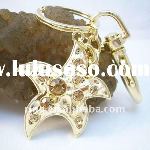 Yellow Charm Starfish useful keyring keychain wedding souvenir gifts