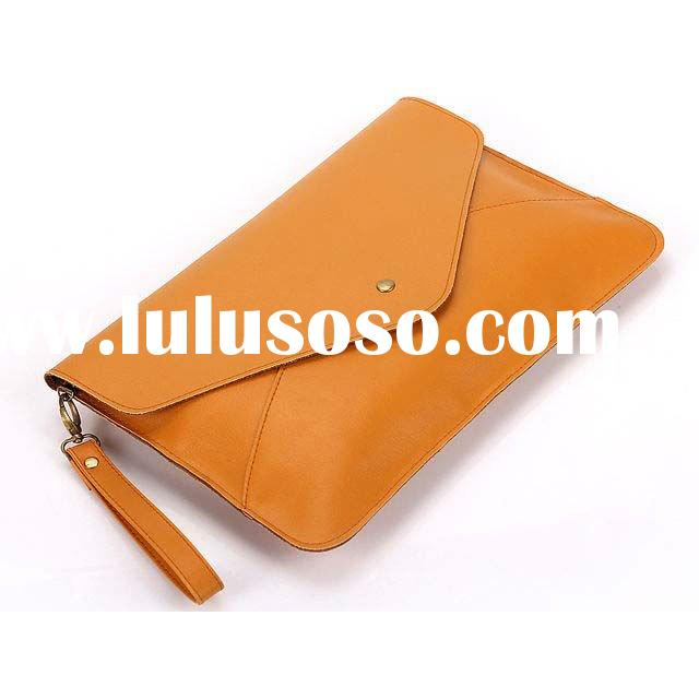 Yellow PU Leather Oversized Envelope Clutch style Purse with Shoulder Strap for Women