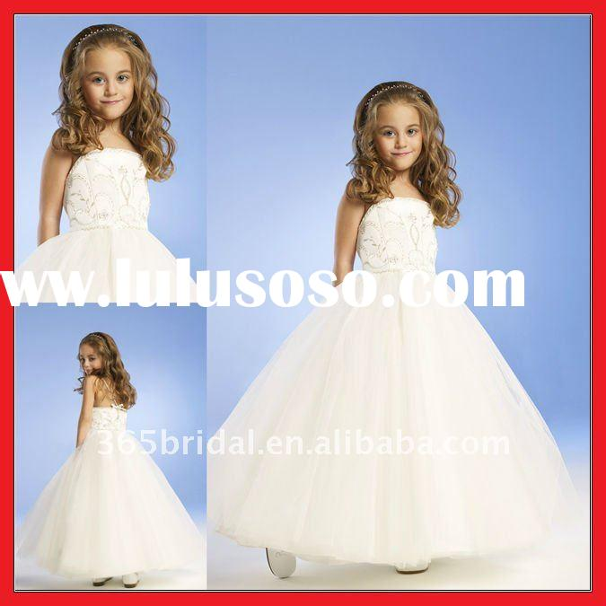 ZHX0792 Princess A-line Beaded Applique Satin Flower Girl Dress 2012
