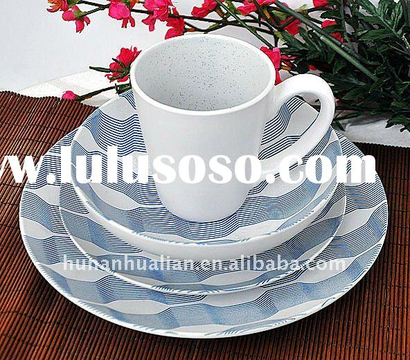 colorful round ceramic dinnerware set with machine printing