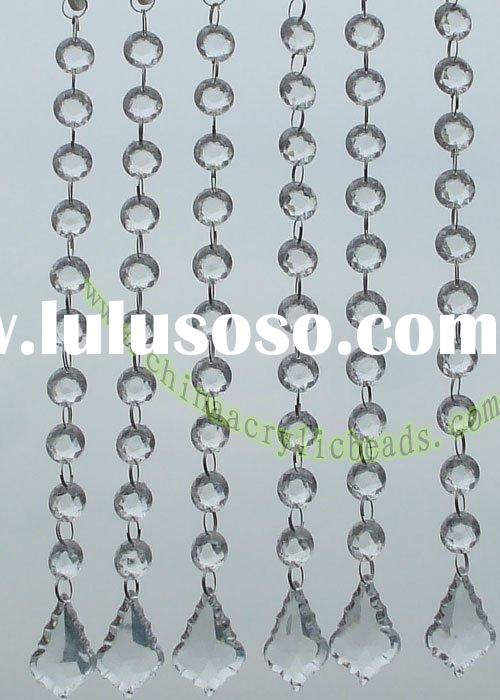 craft bead curtain, crystal chains, acrylic rope, clear curtain, color curtain, decoration curtain