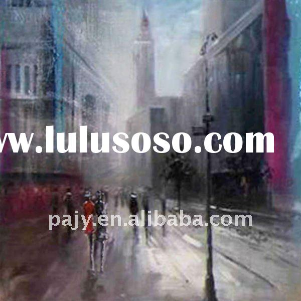 decorative abstract street scene oil paintings