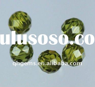 fancy green peridot beads with hole drilled in center cz zirconia stone