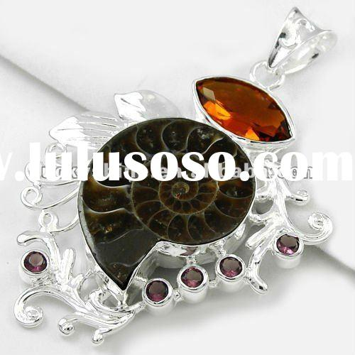 fashion design pendant Ammonite Fossil lucky charms