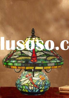 green dragonfly and flower tiffany table lamp