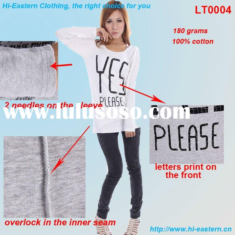 high quality of pure cotton fabric with letters printing for women's T shirt design