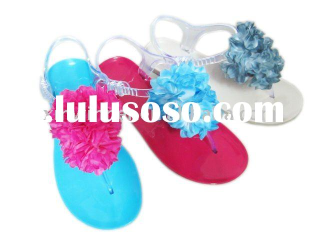 latest design PVC plastic jelly(crystal) flower thong sandals