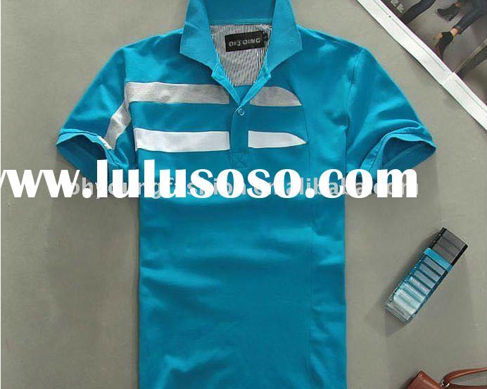 mens urban CVC TC casual blue short sleeve polo t shirt