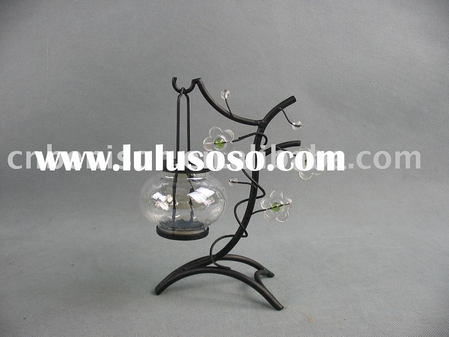 metal tree glass ball candle holder with flower decoration