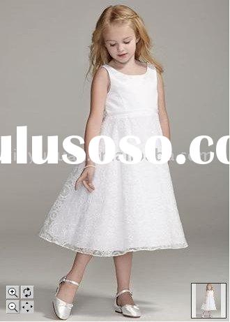 modest and vintage sleeveless lace couture flower girl dresses DBF-004