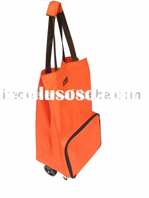 new bag promotional shopping bag /folding shopping bag with wheel new model
