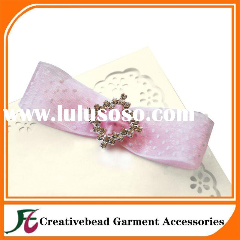 new design square rhinestone buckle for wedding invitation ribbon
