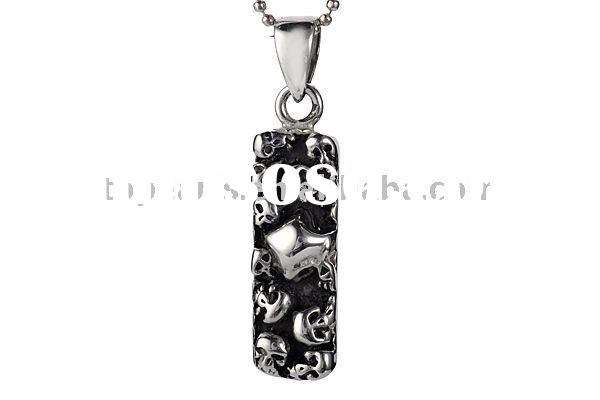 pendants, necklaces pendants,pewter stainless steel skull rectangle hip hop pendant HHP16