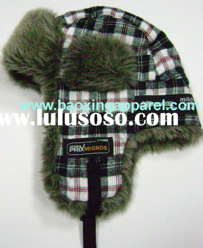 plaid faux fur pilot trapper trooper hat black grey white
