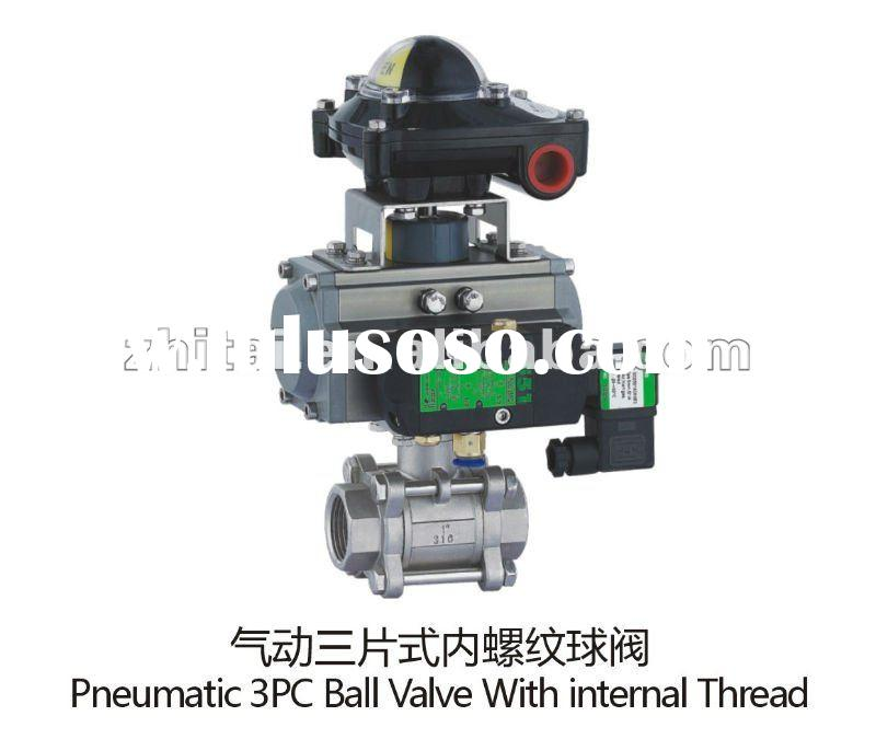 pneumatic ball valve in three piece (3pc) type and Gear rack and pinion type actuator