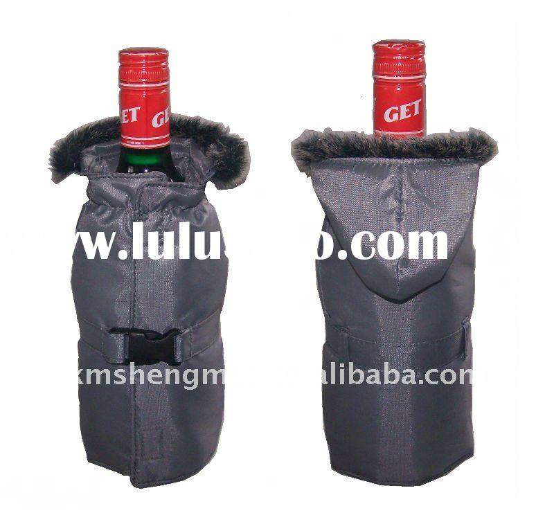 promotion wine bottle jacket/cover/sleeve/bag/pouch with fur collar