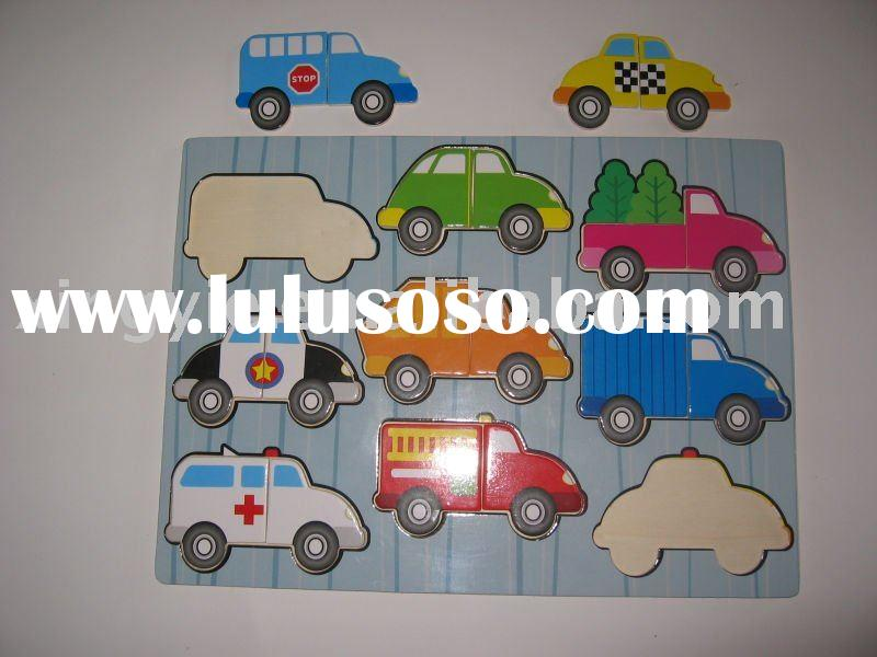 promotional wooden car modle puzzle for kids
