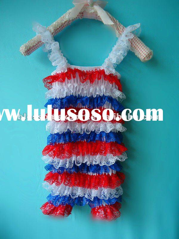 red white blue baby lace romper wholesale