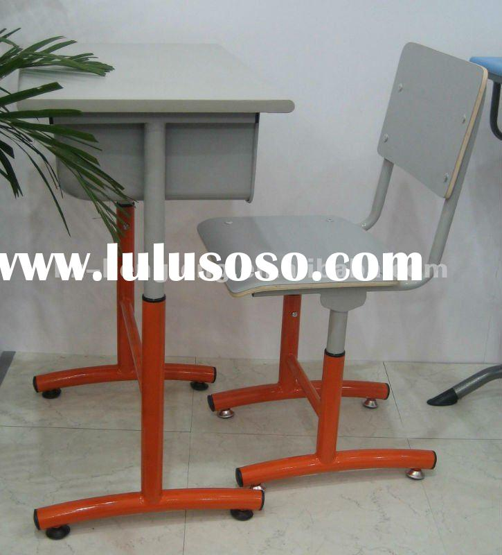 single student desk wood top metal frame bent wood chair school furniture