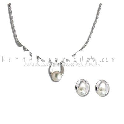 sterling silver jewelry set,handmade silver jewelry,pearl jewelry set,