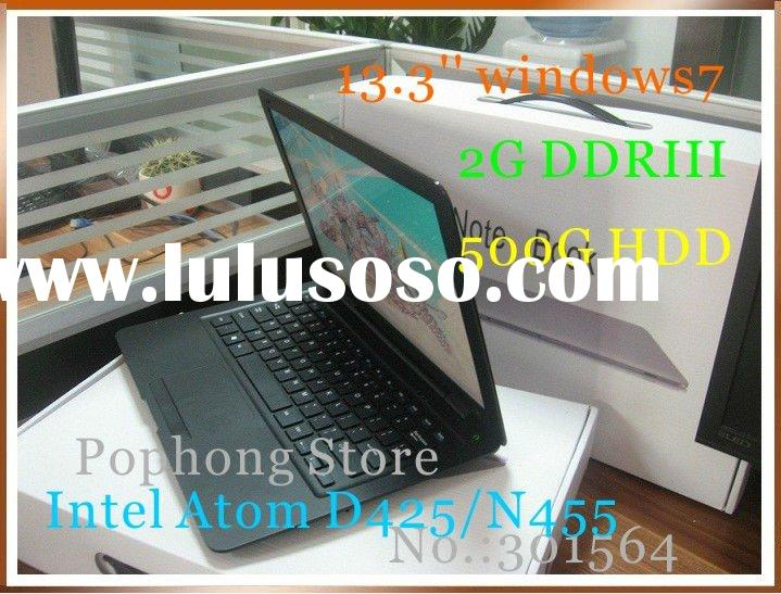 ultra thin notebook 13.3 inch cheap mini laptop computer 640G/ 4G Intel Atom D425 1.8G WIFI HDMI Cam