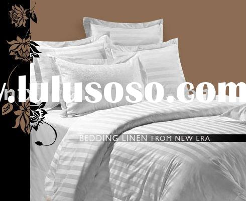 100% cotton white striped duvet cover--hotel bed linen