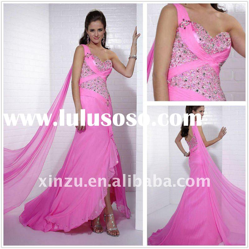 2011 Attractive One Strap Chiffon Long Length Beading Arabic Prom Dresses--PD2142