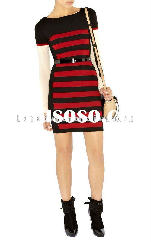 2012 Black with Red Short Sleeve Knitted Sweater Dress with Stripe KM170