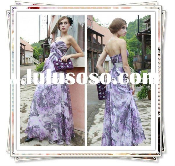 2012 Custom Made chiffon strapless shaped purple Evening Dress Maxi Camo strapless Prom Dresses Long