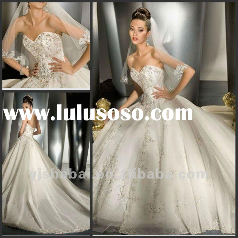 2012 Excellent strapless sweetheart neckline heavy beaded princess wedding gown YS-0069