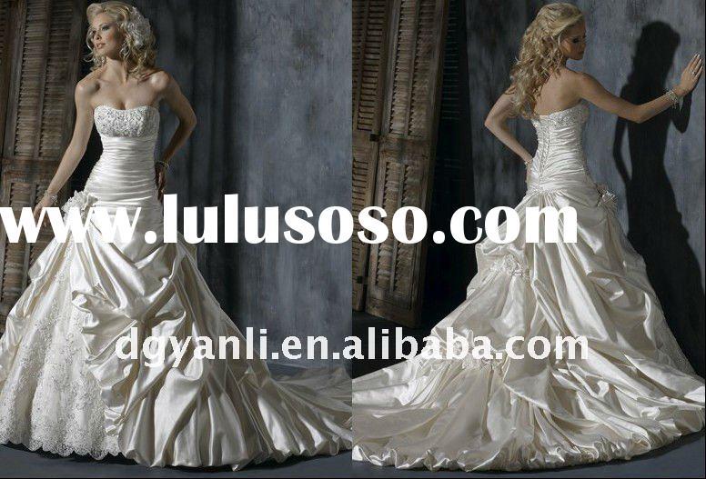2012 New Arrival Popular Designer Vintage Strapless A-line white taffeta beaded muslim wedding gown