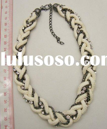 COSTUME JEWELRY-BRAIDED NECKLACE WITH ROPE, CHAIN & RHINESTONE CHAIN