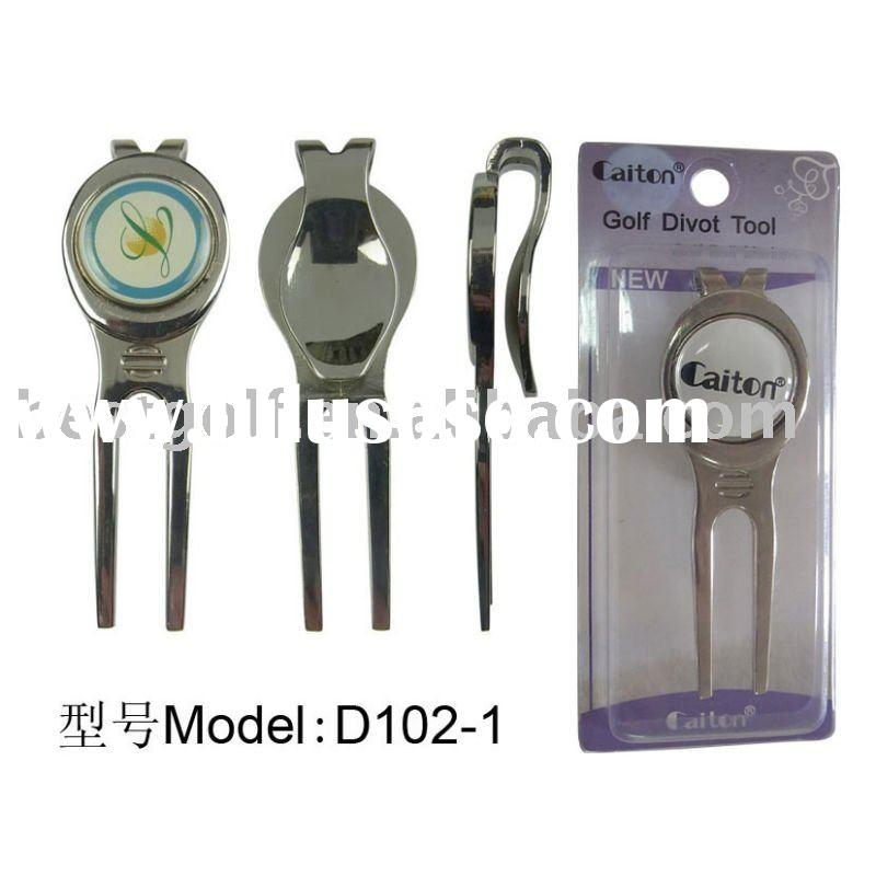D102-1 Zinc alloy golf divot tool with ball marker,golf pitch fork,golf tool,golf items,golf accesso