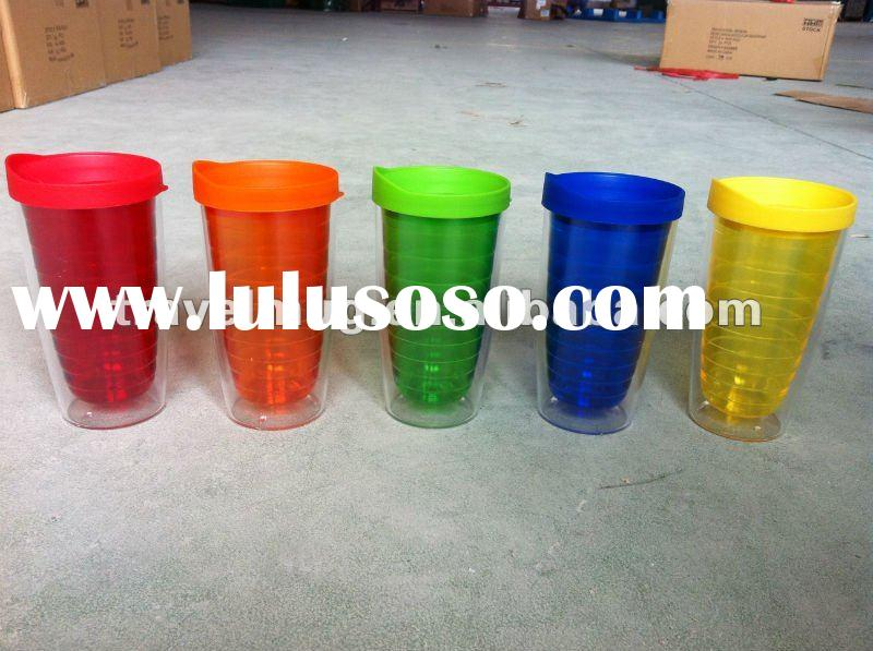 Double Wall Plastic mug with straw lid