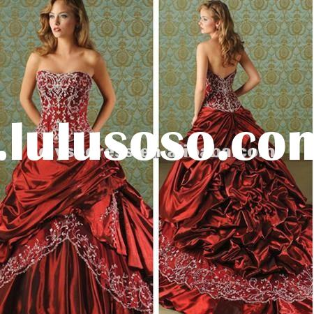Fashionable Romantic New Design Strapless Taffta Chapel Train Red Ballgown Wedding Gowns