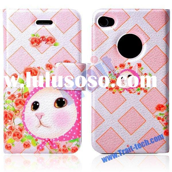 Jetoy Pink Hood Cat Flip Wallet Leather Case for iPhone 4